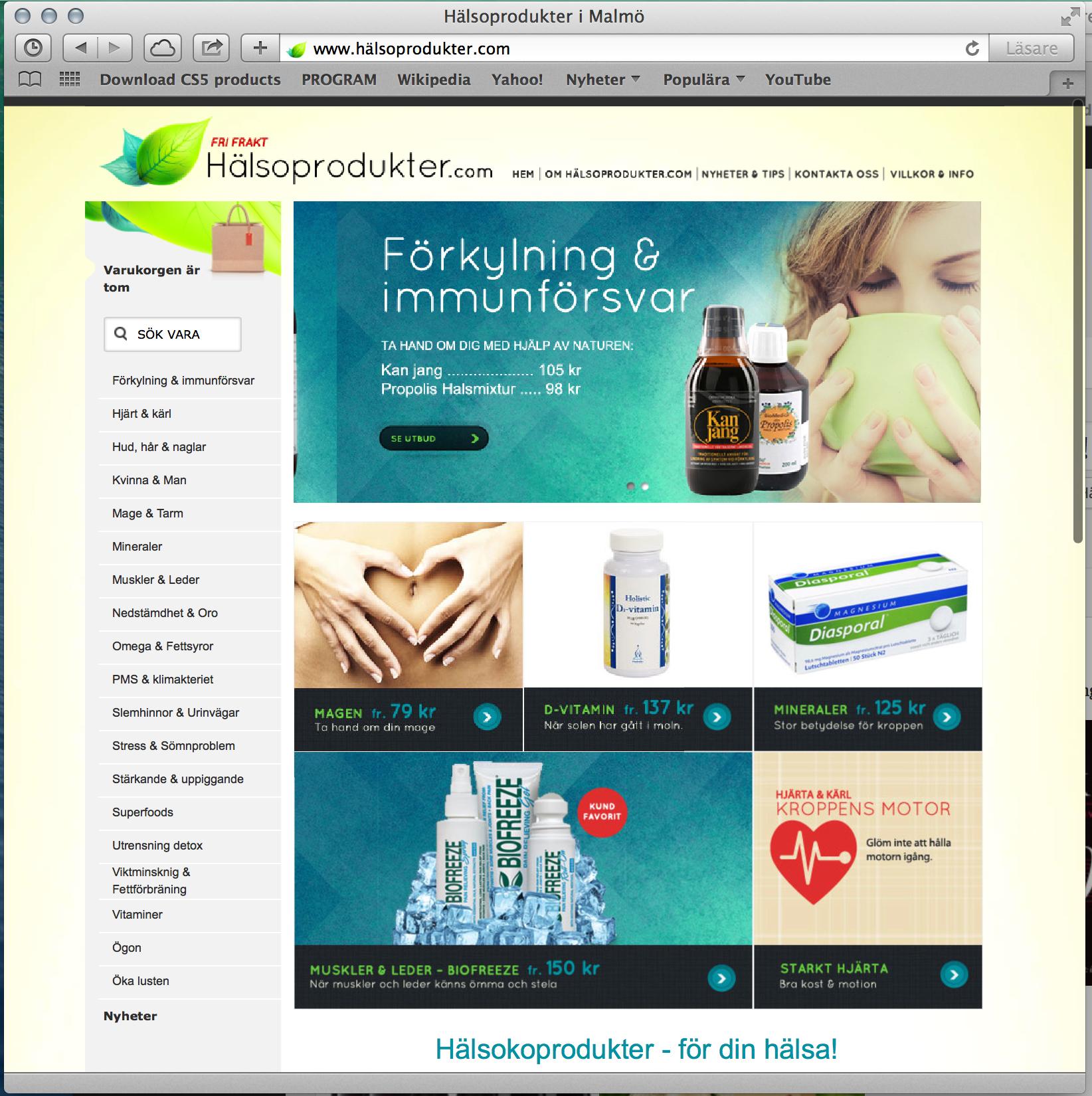 Webbdesign - Hälsoprodukter